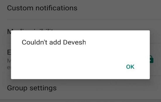 Couldn't Add Contact To WhatsApp